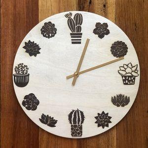 Succulent Engraved Clock